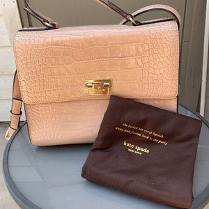 Kate Spade Pink Croco Satchel + Dustbag